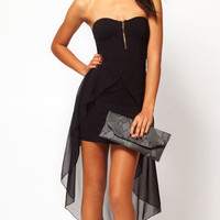 Black Strapless with Long Back Wrap Chiffon Mini Dress