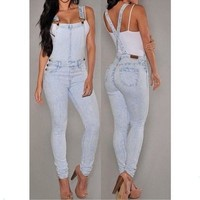 Women's Fashion Summer Sexy Empire Waist Slim Fit Casual Baggy Loose Jeans Denim Overalls Pants Jumpsuit Long Rompers = 5709560193