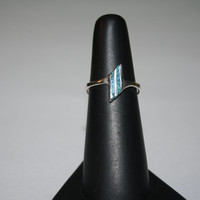 Petite Turquoise Vintage Sterling Silver Ring Size 6 - free ship US