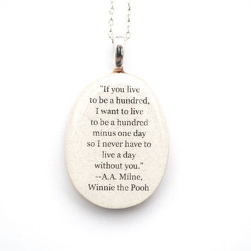 Best friend necklace friendship necklace going away gift Winnie the pooh quote necklace personalized jewelry eco friendly graduation gift