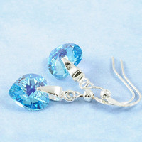 Beadwork Earrings Small Heart Valentine Turquoise Blue Valentine Gift For Her March Birthstone