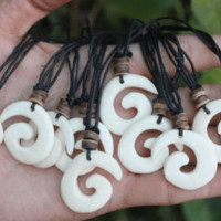 Spiral Maori Bone Necklace with Wood Beads