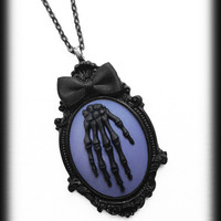 Gothic Cameo Necklace, Black Skeleton Hand on Purple Cameo Pendant, Steampunk Victorian Zombie, Handmade Jewelry, Gothic Gift
