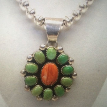 Authentic Vintage Signed Native American Sterling Silver Chimney Butte Pendant Necklace. Signed N