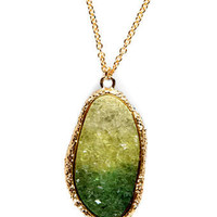 Cool Crystal Necklace - Rock Necklace - Green Necklace - Gold Necklace - $12.00