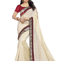 Beautiful Cream and Red Banarasi Kora Silk Saree