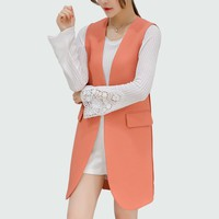 Colete Feminino 2017 Sleeveless Blazer Vest Long Vest Waistcoat Female Women Outwear Jacket Pocket Coat Black / Rust Red