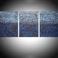 "ARTFINDER: "" Deeper shade of Blue 2 "" triptych 3 panel wall art colorful blue tones in acrylic 3 piece panel wall abstract canvas abstraction 54 x 24"" by Stuart Wright - "" Deep Shade of Blue 2 ""  in shades of prussian..."