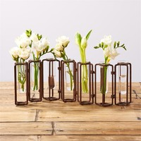 Lavoisier Set of 7 Hinged Flower Vases with Antiqued Rusted Finish - Metal