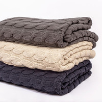 Gray Large Cable Knit Throw