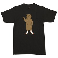 BEAR IN SOCKS MEN'S BLACK GRAPHIC TEE