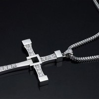 Stainless Steel Masculine Men's Religious Cross Pendant Necklace With Silver Chain