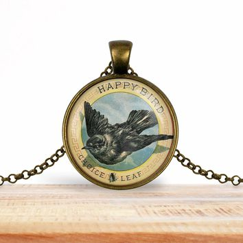 Vintage product label photo pendant - Happy bird