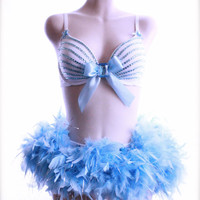 32D/Small - Blue and White Glitter Rhinestone Feather Tutu 2 Piece Lingerie Burlesque Costume - Halloween Bra and Panty - VS Fashion Show