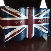 French Provincial Waving Union Jack Dresser / Buffet by Artisan8