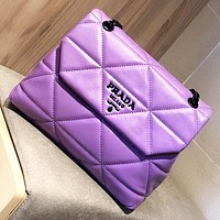 Hipgirls Prada New fashion solid color leather shoulder bag crossbody bag Purple