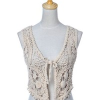 Anna-Kaci S/M Fit Natural Beige Crocheted Mini Cropped Outer Shrug Vest Cover-Up