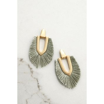 Fringe Statement Earrings in gold and sage