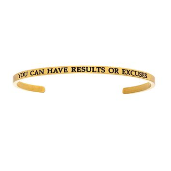 Intuitions Stainless Steel YOU CAN HAVE RESULTS OR EXCUSES Diamond Accent Cuff Bangle Bracelet