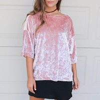 Wild Rose Pink Three-Quarter Sleeve Velvet Top