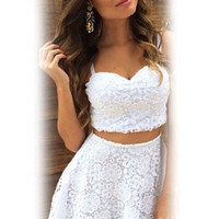 White Floral Lace Sweetheart Neckline Cropped Top  with Skater Skirt