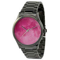 Moon Watch (Pink) in black case with metal band