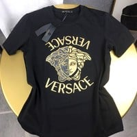 Versace 2019 new head letter hot drilling casual round neck T-shirt Black