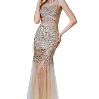 PRIMA 17-4199 High Neck Jeweled Sheer Illusion Prom Dress Evening Gown