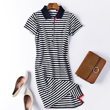 Summer thin navy striped casual comfort POLO collar combed cotton slim slimming long dress Blue and white stripe