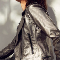 BLANKNYC Metallic Faux Leather Moto Jacket | Urban Outfitters