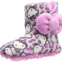 Hello Kitty Women's Sherpa Boot With Printed Plush Upper