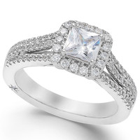 Marchesa Certified Diamond Split Shank Engagement Ring in 18k White Gold (1-1/5 ct. t.w.)