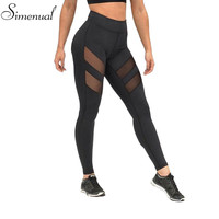 Athleisure harajuku leggings for women mesh splice fitness slim black legging pants plus size sportswear clothes 2016 leggins