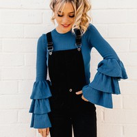 Concealed Snap-Button Denim Overalls