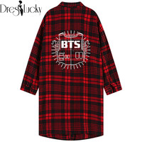2016 Korean Star Boyfriend Style Loose Women Blouses and Shirts Slim Red Plaid Letters Shirt Body Couple Clothes blusa feminina