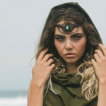 Persian Princess Hood Crop Top- Olive Green- Cowl Neck Hood,Festival Clothing,Wrap Top, Elven,Backless Top,Goa ,Fairy,Tribal,Hippie,Faerie