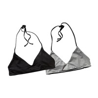 Patagonia Women's Reversible Mamala Bikini Top | Black w/Feather Grey