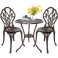 HOMEFUN Bistro Table Set, Outdoor Patio Set 3 Piece Table and Chairs, Tulip Carving and Weather Resistant-Antique Bronze Antique Bronze-3 Pieces