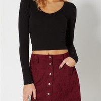 Black Cropped Knit Top