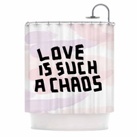 """Vasare Nar """"Love Is Such A Chaos"""" Pink Pastel Shower Curtain"""