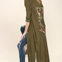 Boho Soul Olive Green Embroidered Maxi Top