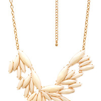 FOREVER 21 Clustered Marquis Bib Necklace Cream/Gold One