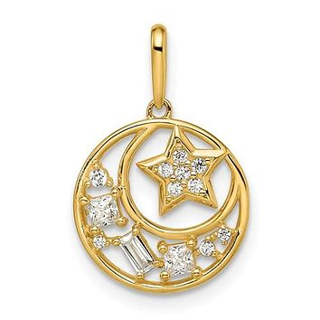 14k Gold Petite Star and Moon with CZ Pendant