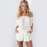 Off Shoulder Lace Patchwork Romper