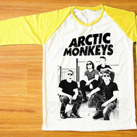 Arctic Monkeys T-Shirt Indie Rock T-Shirt Raglan Tee Yellow Sleeve Shirt Women T-Shirt Men T-Shirt Unisex Tee Shirt Baseball Tee Shirt S,M,L