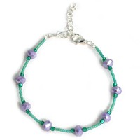 Handmade Anklet in Purple and Teal
