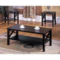 Coffee End Table Set 3 Piece Cocktail Living Room Furniture Storage Coffeetable