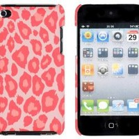 Coral Leopard Embossed Hard Case for Apple iPod Touch 4, 4G (4th Generation)