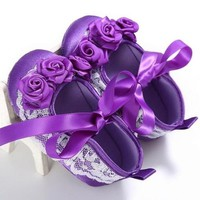 Royal Purple Flowers Baby Shoes