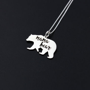 Mama Bear Necklace Sterling silver Mother necklace Family pendent mothers day gift ---all mothers are awesome--- love mom